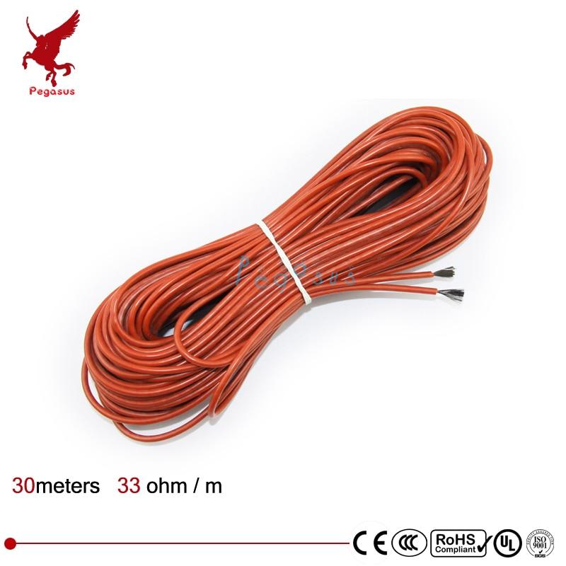 30 meter carbon heizung kabel Silikon gummi heizung kabel 5V12V24V220V Heizung kabel 33ohm/m Heizung draht niedrigen kosten