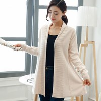 Spring NEW Women S Cashmere Wool Blended Shawl Cardigan Solid Color Knitted No Buckle Long Section
