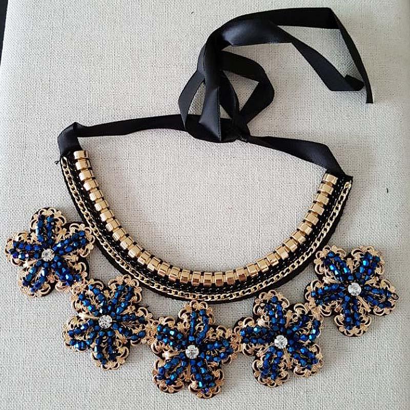 Jaymaxi Classic Black Ribbon Necklace Accessories Women Gold-color Flower-shaped Pendants Adjustable Necklace TA929 retro style flower pendants necklace for women