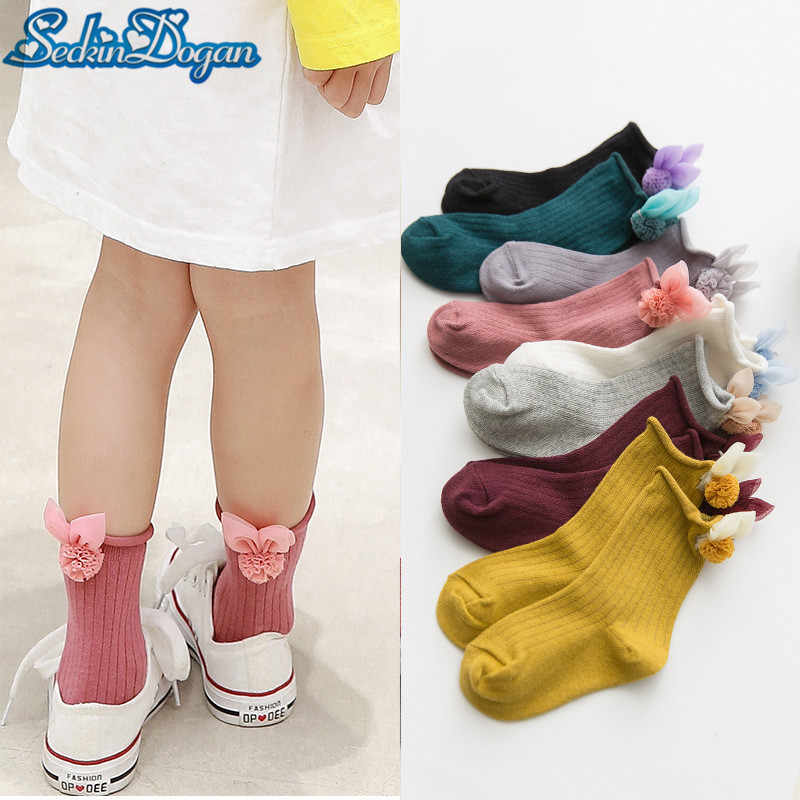 SeckinDogan Kids Girl Socks Fashion Cute Lace Accessories Cotton Baby Girl Socks Rabbit Shape Striped Children Girl Sokken