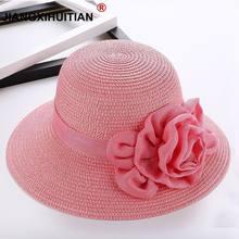 Moda flor mujer sombreros de Sun plegable de ala ancha sombrero de paja  femenino ocasional sombra sombrero mujer verano playa An.. c869ae12e24