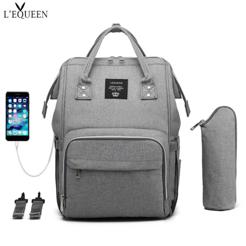 Lequeen USB Pure Color Baby Diaper Bags Large Capacity Mummy Maternity Nappy Bag Travel Backpack Designer Nursing Bag Organizer in Diaper Bags from Mother Kids