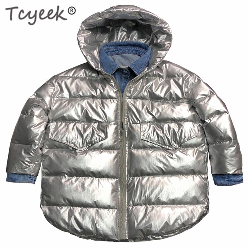 Tcyeek зимняя куртка женские парки Mujer 2019 корейская уличная одежда шляпа толстовки Сращенные модные пальто джинсы подходят Casaco Feminino LW495