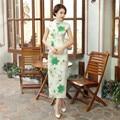 Summer Stylish Women Vintage Long Qipao Dress Chinese Female Classic Satin Slim Cheongsam Flowers S M L XL XXL XXXL C0052-1