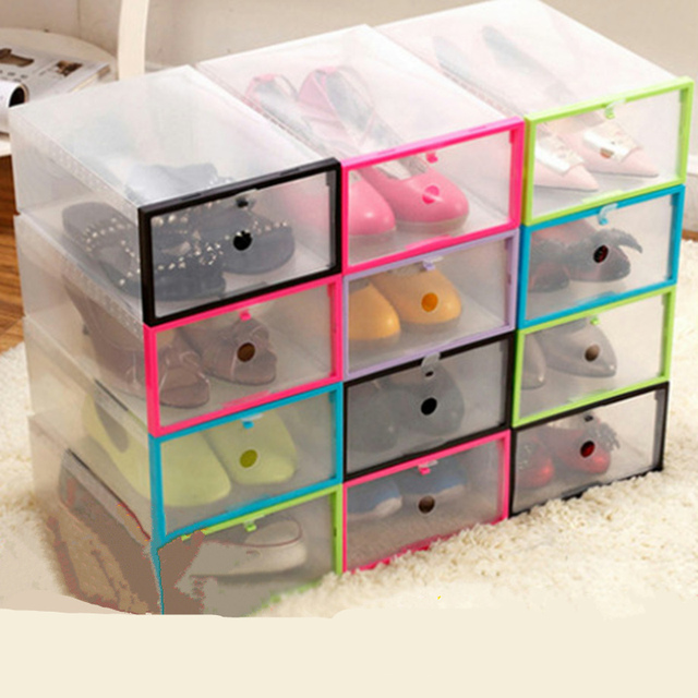 6pcs DIY Rectangle Thickening Increase Drawer Shoe Storage Box Finishing  Clear Plastic Case Boots Shoe Organizer