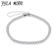 Fyla Mode New 925 Sterling Silver Charms Bracelet 3mm Round Cubic Zircon Bracelets & Bangles Women Wedding Jewelry Party Gift