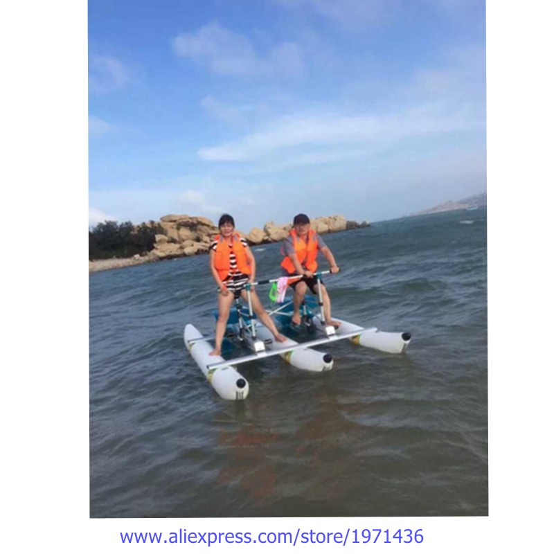 2 Players Portable Folding Amusement Park Equipment Water Bicycle Foot Operated Pedal Water Bike For Teenager Adults