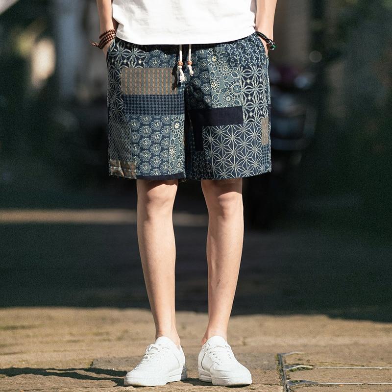 Linen Shorts Drawstring Hawaii Hip-Hop Straight Beach Summer Casual Loose Homme Comfortable