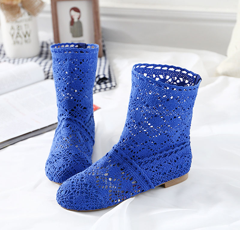 3a86e7cd6d837 High Quality Breathable Mesh Summer Boots Women Flat Heel Ankle Boots 2019  Summer Womens Boots Fashion Cut Outs Brand ZH262-in Ankle Boots from Shoes  on ...