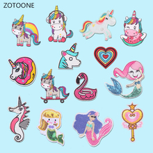 ZOTOONE Colorful Diy Unicorn Patch for Clothing Embroidered Clothes Patches Applications Badges Stickers Applique Garment G