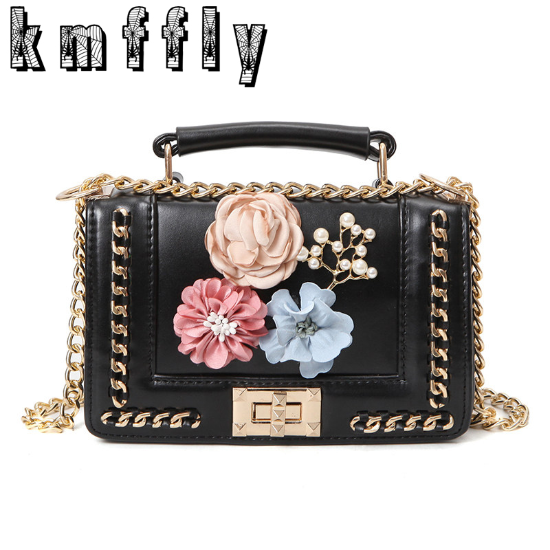 KMFFLY women bags chain Flowers bag handbags luxury handbags women famous brand designer bag Crossbody Messenger bag sac a main famous brand handbags women shoulder bag designer plush ball chain leather bag small crossbody bags for women sac a main