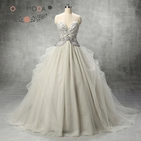 Rose Moda Fashion Deep Sweetheart Gray Silver Tulle Wedding Ball Gown With Crystal Sash Heavily Beaded