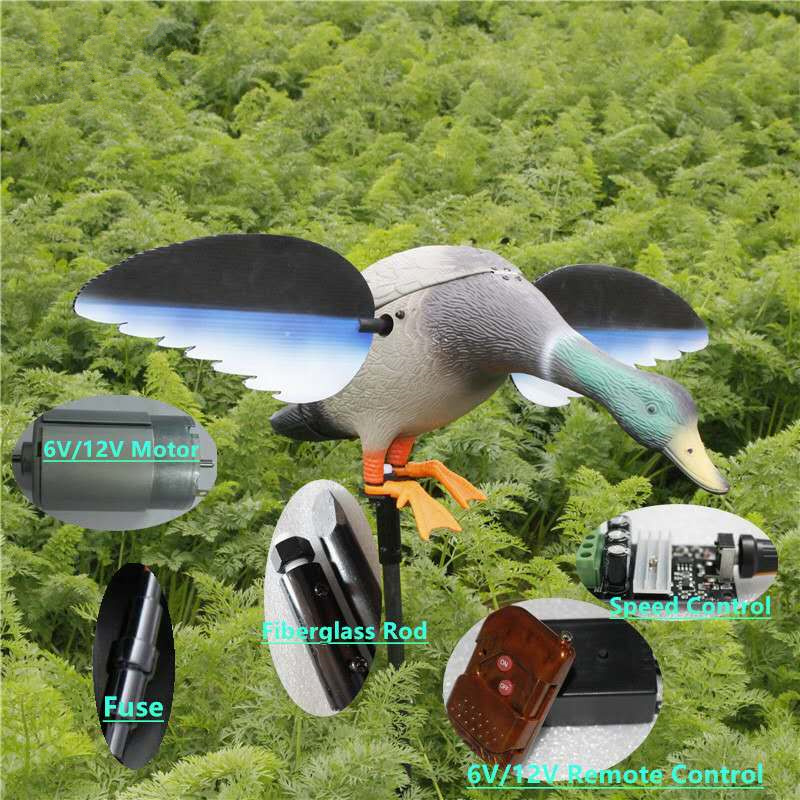 BEBO dog Dc 6V Remote Control Plastic Motorized Hunting Decoy Duck With Magnet Spinning Wings