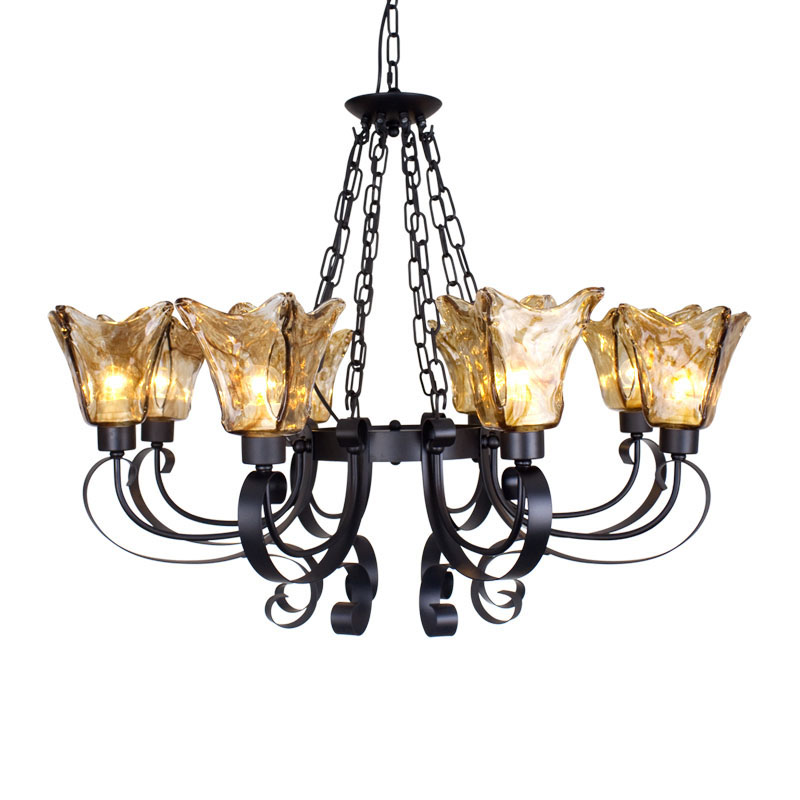 European chandelier villa living room lamp American country bedroom lamp retro iron restaurant lamp Mediterranean chandelier
