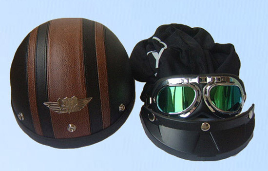 TOP New Leather Half Face Motorcycle Vespa Scooter Helmet Goggles//Visor S M L XL