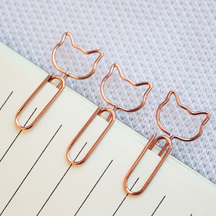 Cat Design Rose Gold Paper Clips Metal  1