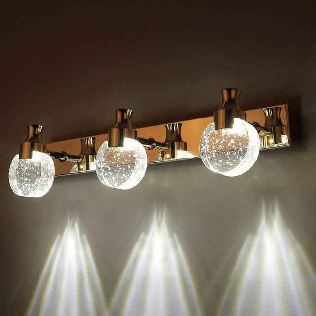 Modern Led Bubble Crystal Bathroom Wall Lamp Mirror Front