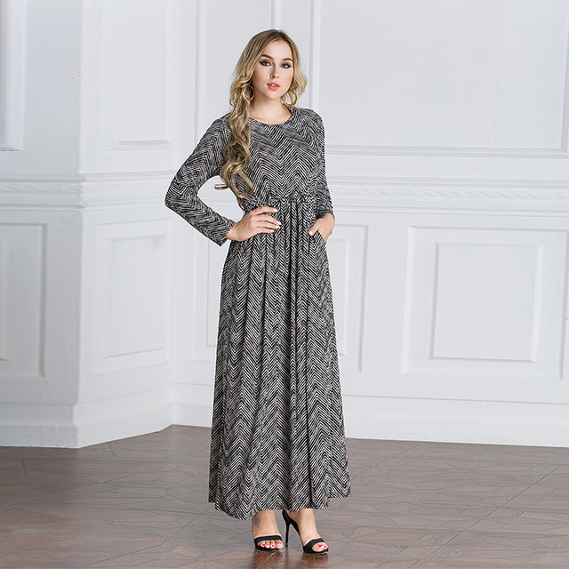 6b3e507e4c834 US $25.0 |Autumn Maxi Dress New Elegant Women Casual Long Dresses Long  Sleeve stripe Printing Fashion Muslim Party Dresses Vestidos-in Dresses  from ...