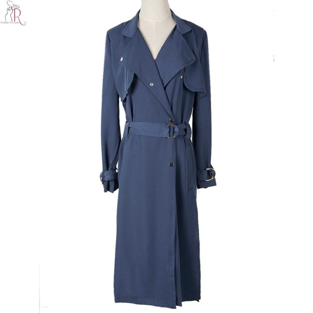Women Trench Long Coat Outerwear Belted Slim Wide Lapel Casual High Street 2017 Fall Fashion