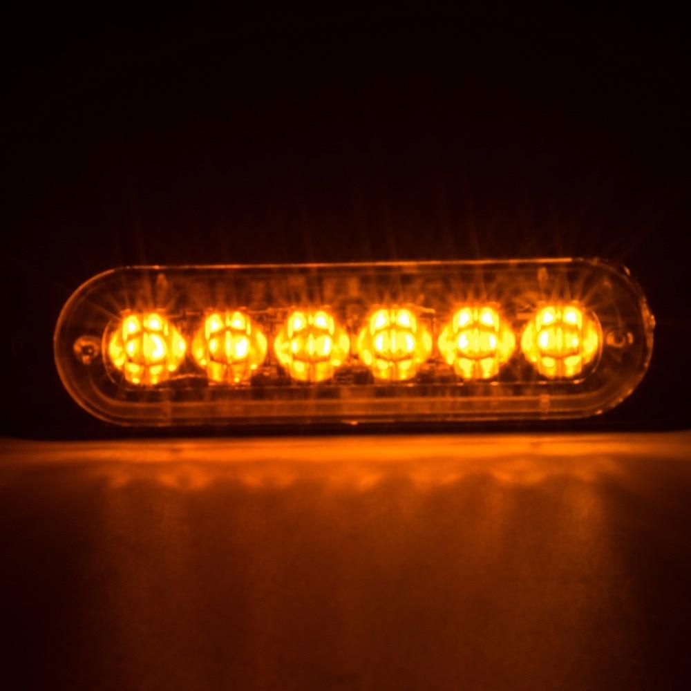 12V  Car Lamps LED Flash Strobe Light White/Yellow Ultra Slim Surface Mount Lamp 2pcs car led headlight kit led bulb d33 h11 free canbus auto led lamps white headlamp with yellow light fog light for citroen c4
