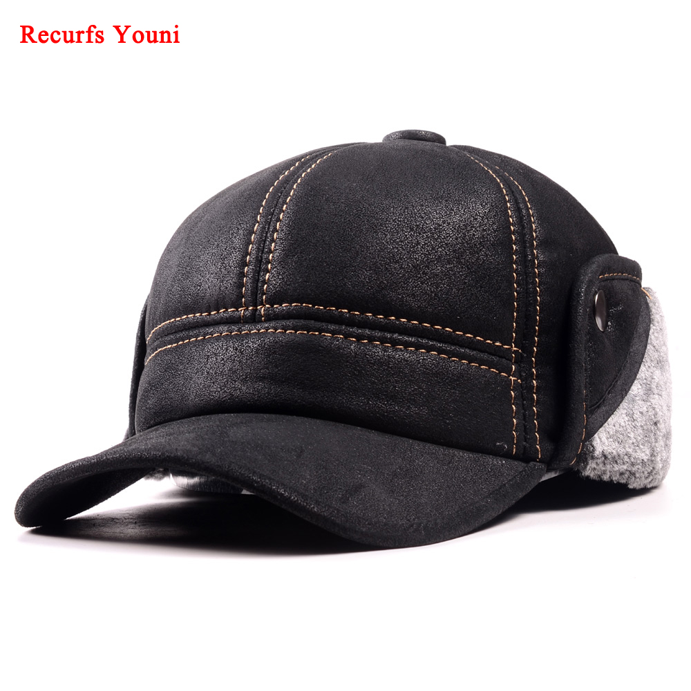 Image 2 - RY9100 Male Winter Genuine Leahter Suede Bomber Hat Man Nubuck Thick Head Warm Dome Caps Elder Black/Brown sewing Fitted GorrasMens Bomber Hats   -
