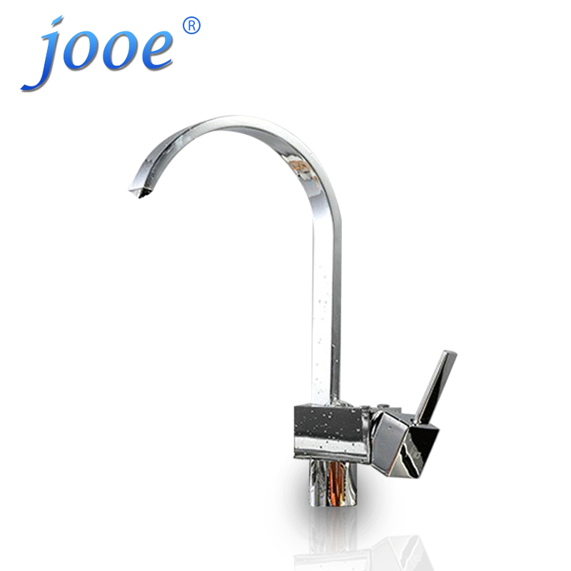 jooe Modern Luxury square Brass plate chrome kitchen faucet hot and cold mixer sink faucet 360