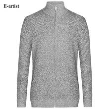 Autumn New Men's O-Neck Slim Fit Casual Knitted Sweaters Long Sleeve Cargidan Knitwear Male Sweatercoats Plus Size 5XL Size M08