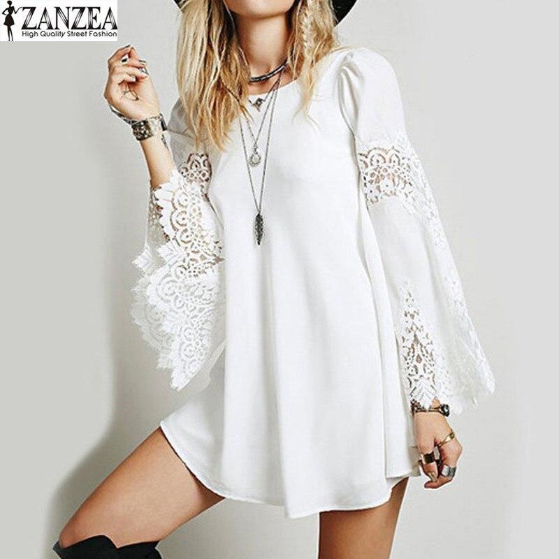 ZANZEA женское кружевное платье с рукавами-колокольчиками, свободное, открытое, вечернее, летнее, Пляжное, повседневное, Короткое мини-платье, ...