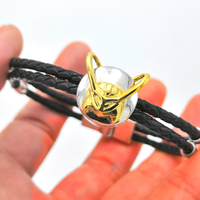 Marvel DC Comics Thor Loki Cosplay Props 925 Silver Bracelet Men Jewelry Women Leather Bracelet Valentine's Day Gifts For Girls