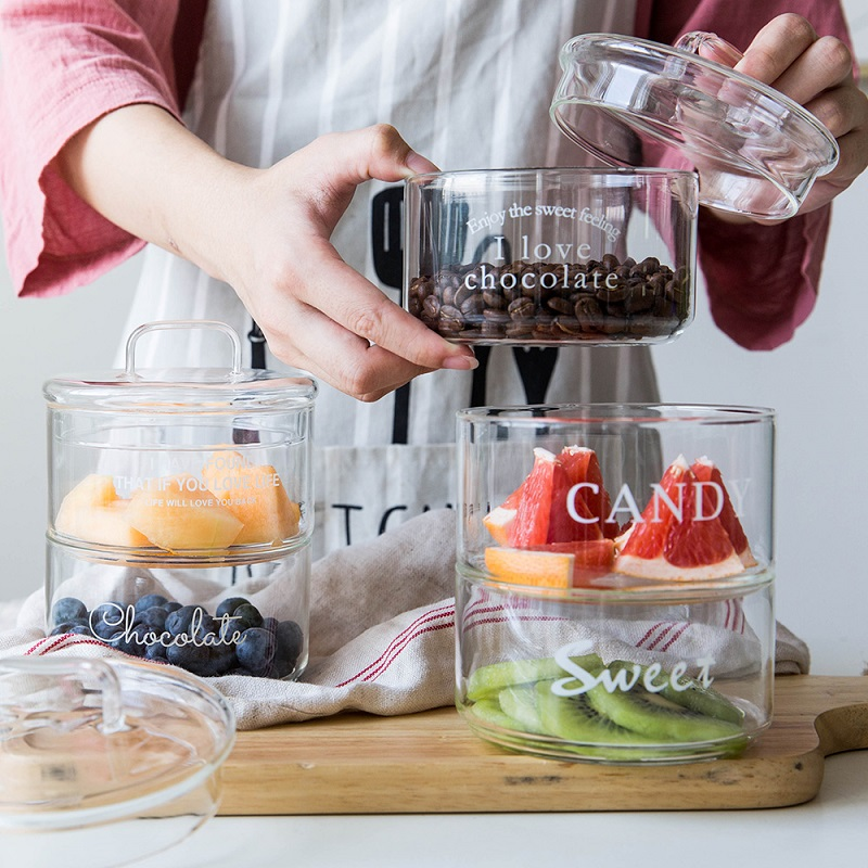 Cream Kitchen Storage Jars: Nordic Heat Resistant Glass Storage Jars With Cover