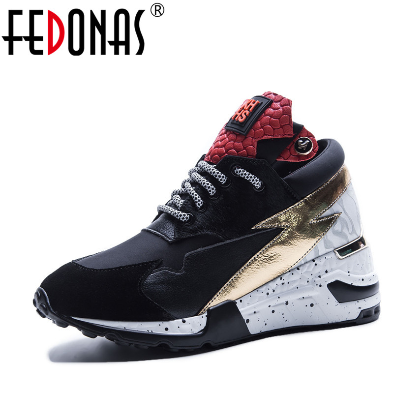 FEDONAS Brand Design Women Genuine Leather Casual Shoes Woman Ladies Sport Sneakers Mix-color High Platform Real Leather Shoes msfair 2018 cow leather skateboarding shoes woman brand genuine leather women sport shoes rhinestone white sneakers for ladies