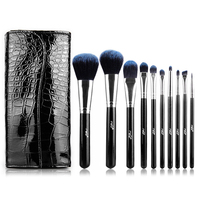 MSQ 10PCS Wood Handle Makeup Brush Set Artificial Fiber Brushes With Classic Black Crocodile Pattern PU