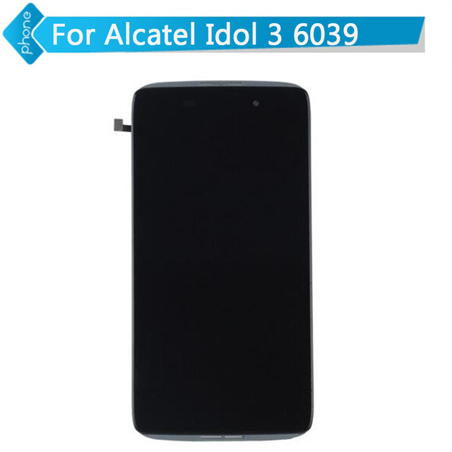 "4.7 ""para o alcatel one touch idol 3 ot6039 lcd screen display toque digitador assembléia com moldura preta"