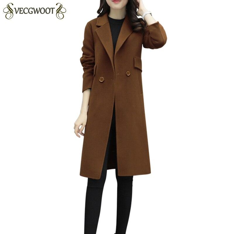 Long Femmes Chaud Hp241 Simple De Automne Manteau Femenino Hiver Tempérament caramel Laine Black Manteaux Abrigo Mode 2019 Femme Slim qwvBFqt