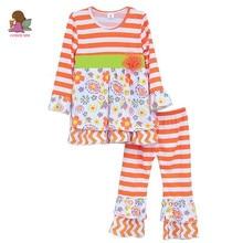 Nouvelle Arrivée À Volants Boutique Petites Filles Vêtements Orange Floral Bande Coton Haut et Bas Tenues Costume Enfants Vêtements F079