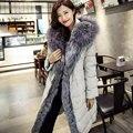 Women Winter Coat Big Real Raccoon Fur Hooded Parkas 90% White Duck Down Outerwear Coat Fashion Long Womens Duck Down Jackets