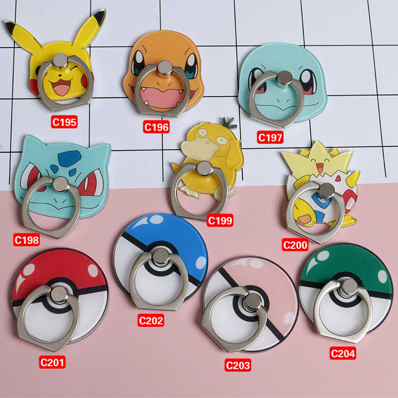 อะนิเมะ Pocket Monsters คอสเพลย์ Props Pokemon Go Pikachu แหวนนิ้วมือ Poke Ball Case for Mobile Phone Portable Universal Phone Holder Phone Stand ัวป๊อปติดมือถือที่ติดหลังมือถือ (โทรศัพท์สมาร์ททั้งหมด