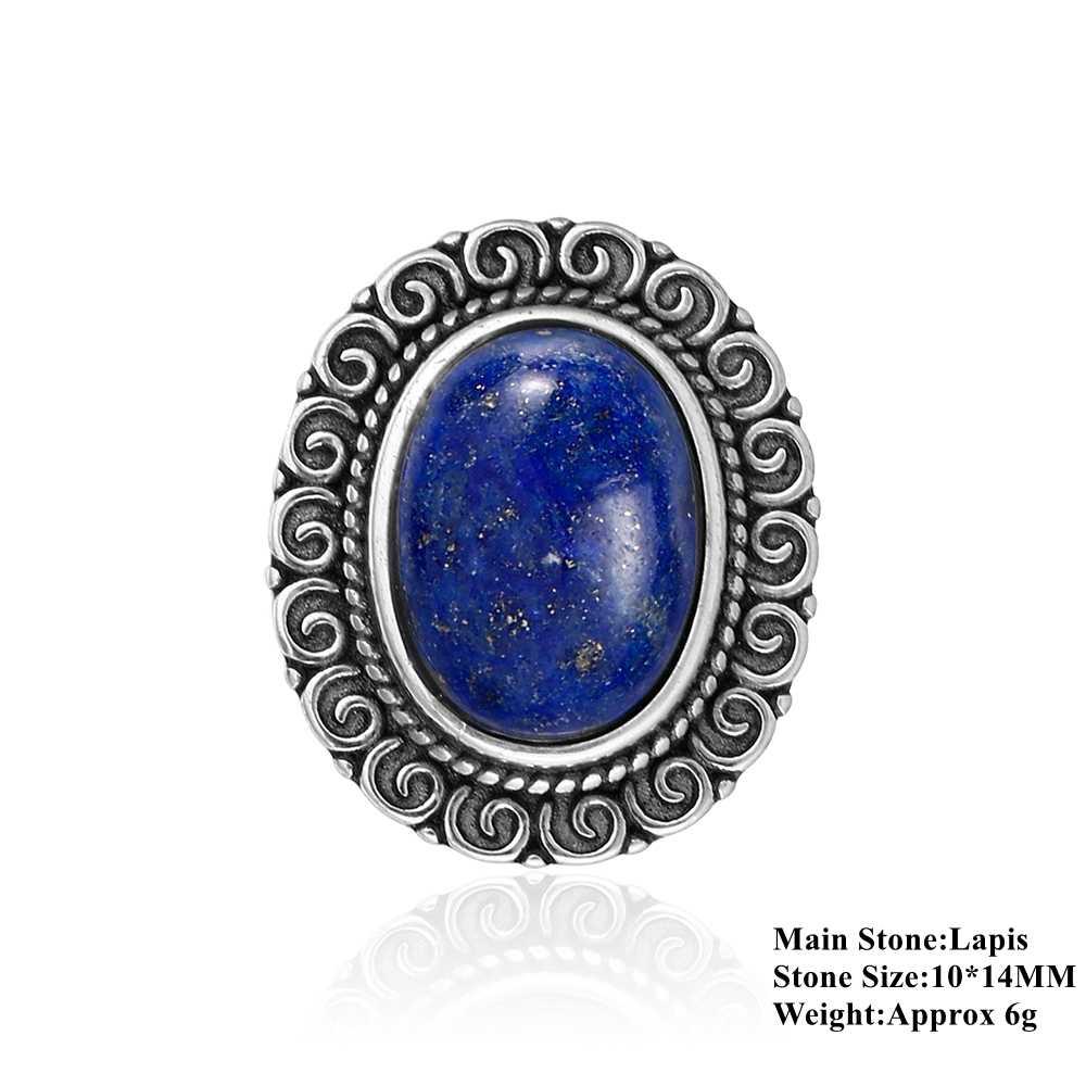 Nasiya Big Trendy owalny niebieski lazuryt obrączki dla kobiet Antique 925 Sterling Silver biżuteria rocznica Wedding Party prezent