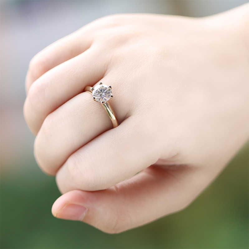 Tallado 18 anillos de oro originales sello 8mm 2ct CZ Zircon anillo de compromiso Color blanco/amarillo oro anillos de boda para mujeres SR168