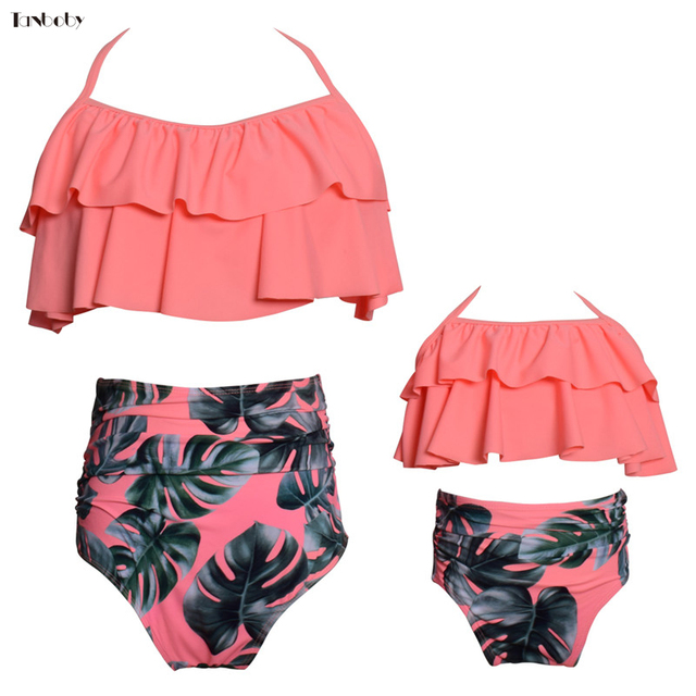f766b874669b2 Family Swimsuits For Mom And Kids Bikinis Two Pieces Swimming Suits Cute  Flounced Top+High Waist Bottom Beach Mother Baby Bikini