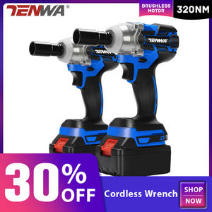 TENWA Brushless/ Cordless Electric Wrench Impact Socket Wrench 21V 4000mAh Li Battery Hand Drill Installation Power Tools