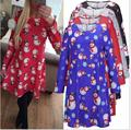 Christmas Snowman Snowflake Print Long Sleeve T-shirt Dress Maternity Dress