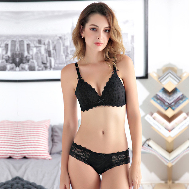 4306c2fd12 Embroidery Push Up Lace Bra Set Women Underwear Lingerie Sets Bow Bra Brief  Sets Female Underwear