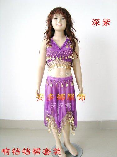 Танец живота костюм топ бюстгальтер и юбка fit детская рост 90-130 см, дети От 6 до 13 лет 6 цветов на выбор - Цвет: Purple