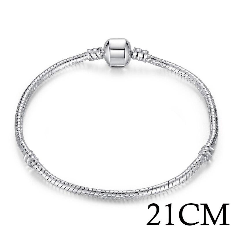5 стиль 925 серебряных любовь цепи змейки и браслет 16 см- 21 см браслеты омар PA1104 - Окраска металла: 21cm Length