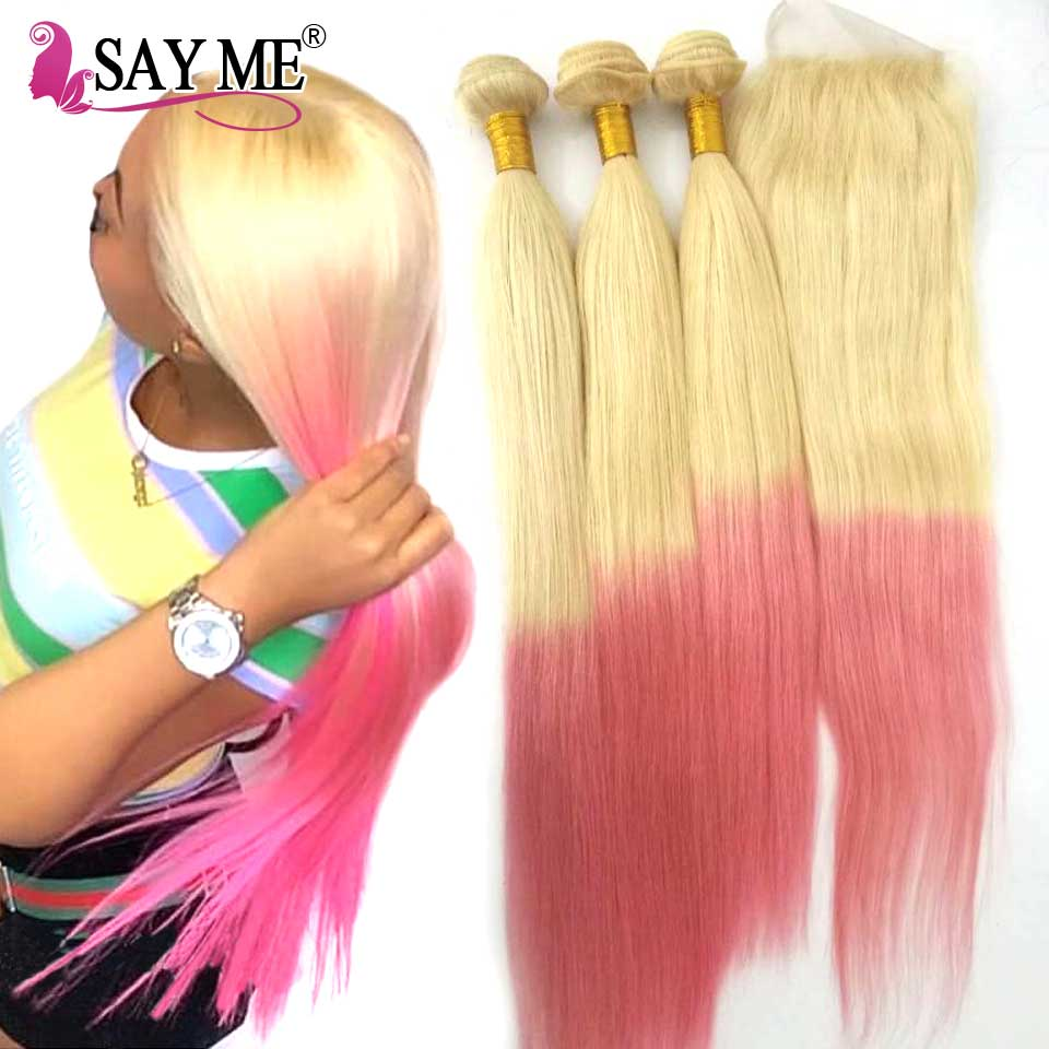 613 Pink Ombre Blonde Peruvian Straight Human Hair Bundles With Closure Remy Hair Weave Ombre 3