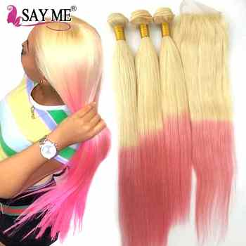 613# Pink Ombre Blonde Peruvian Straight Human Hair Bundles With Closure Remy Hair Weave Ombre 3/4 Bundles With Lace Closure 4*4 - DISCOUNT ITEM  35% OFF All Category