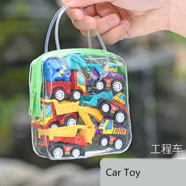6pcs Pull Back Car Toys Mobile Machinery Construction Vehicle Fire Truck Taxi Model Baby Mini Cars Gift Children