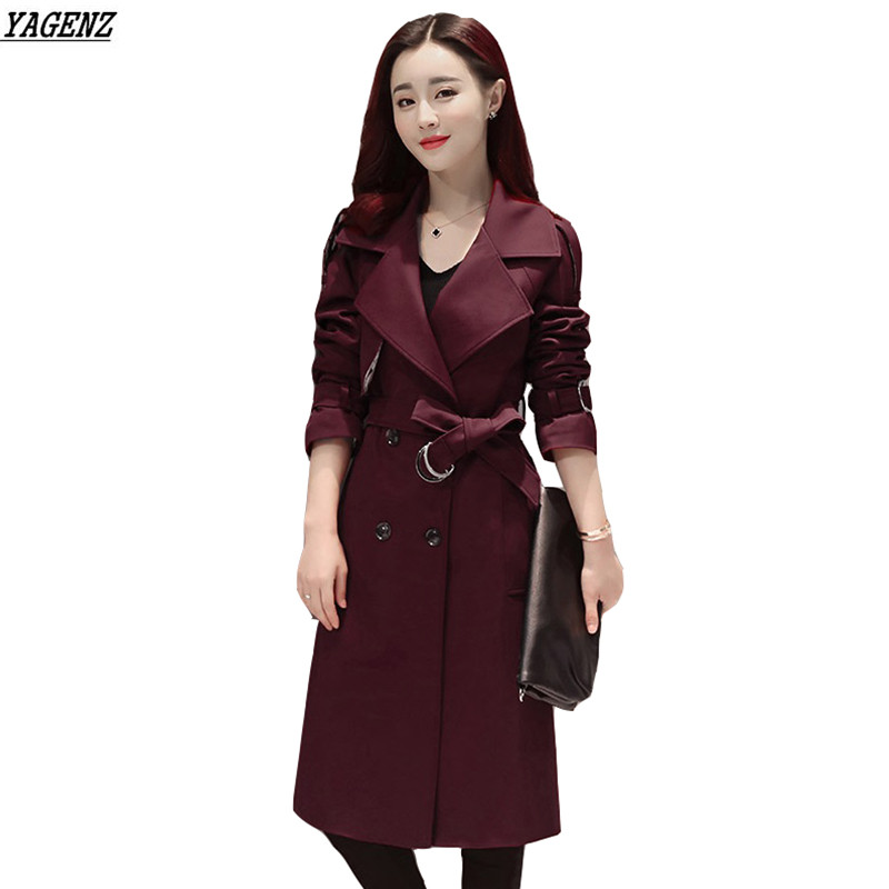 YAGENZ Women Trench Coat 2017 Spring Autumn Fashion Plus Size Double Breasted Trench Coats Female Casual