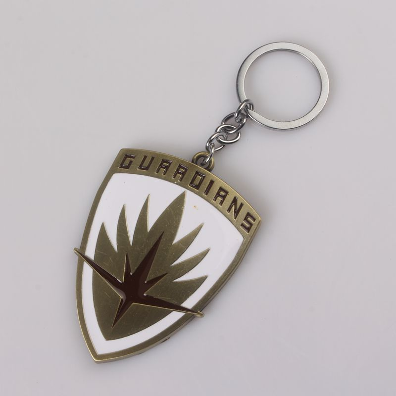 rongji jewelry Newest Movie Seriers Guardians of the Galaxy keyring The shield antiqune Bronze Plated Keychain Jewelry